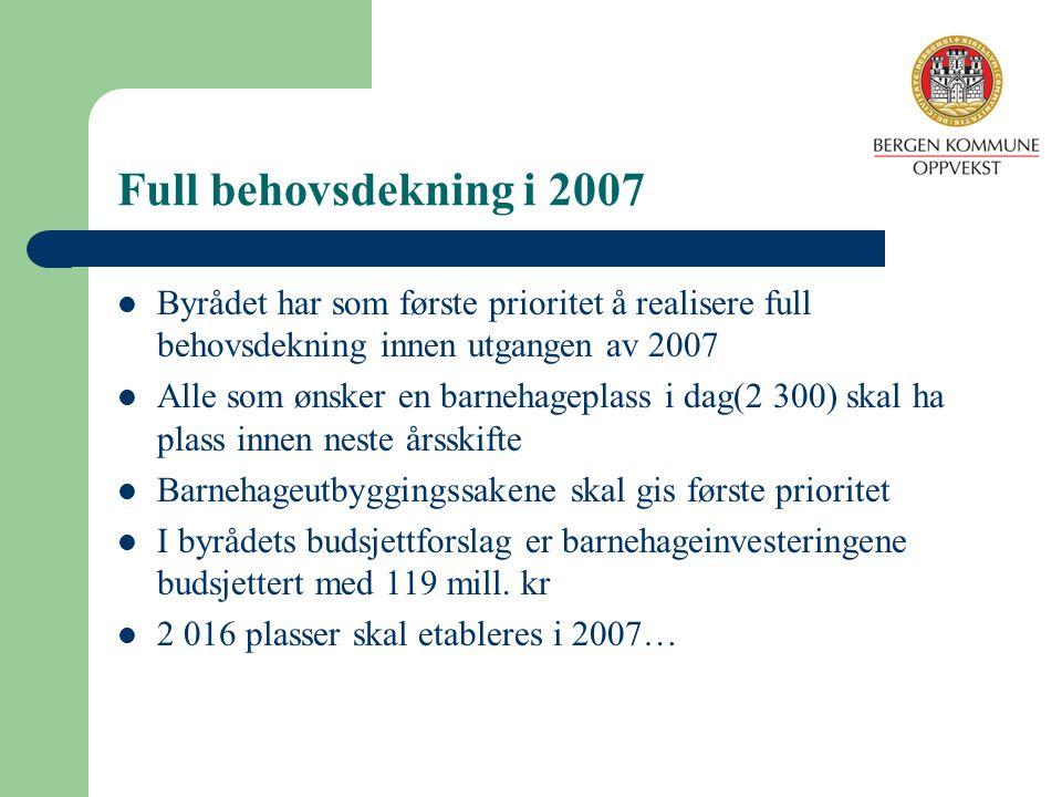 Full behovsdekning i 2007 Byrådet har som første prioritet å realisere full behovsdekning innen utgangen av 2007.