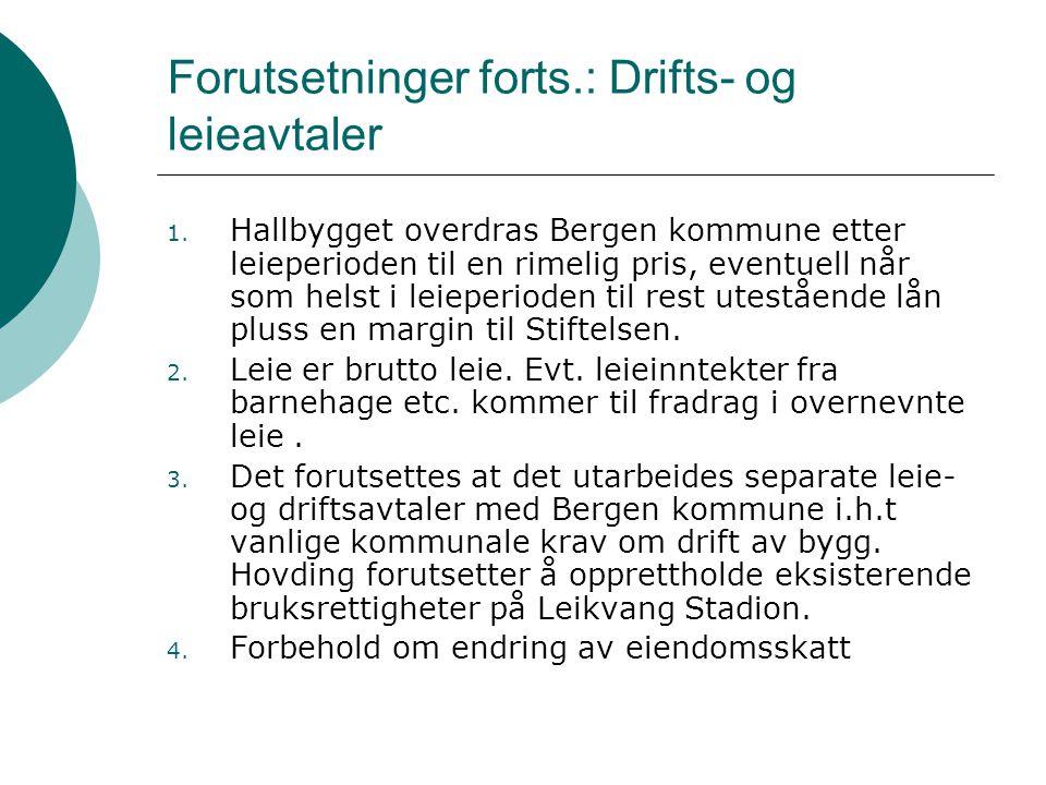 Forutsetninger forts.: Drifts- og leieavtaler