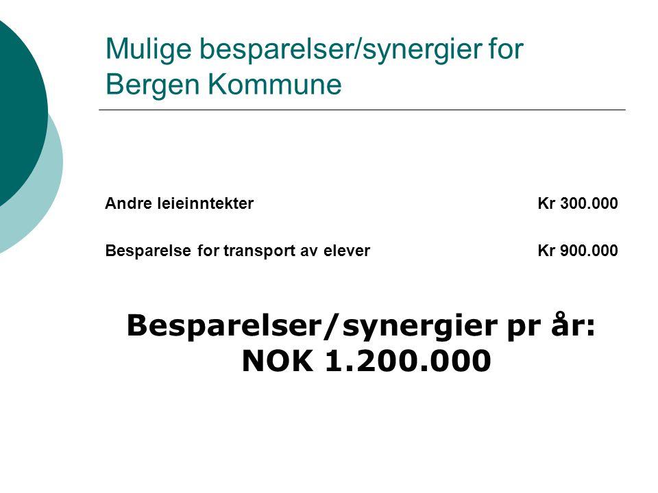 Mulige besparelser/synergier for Bergen Kommune