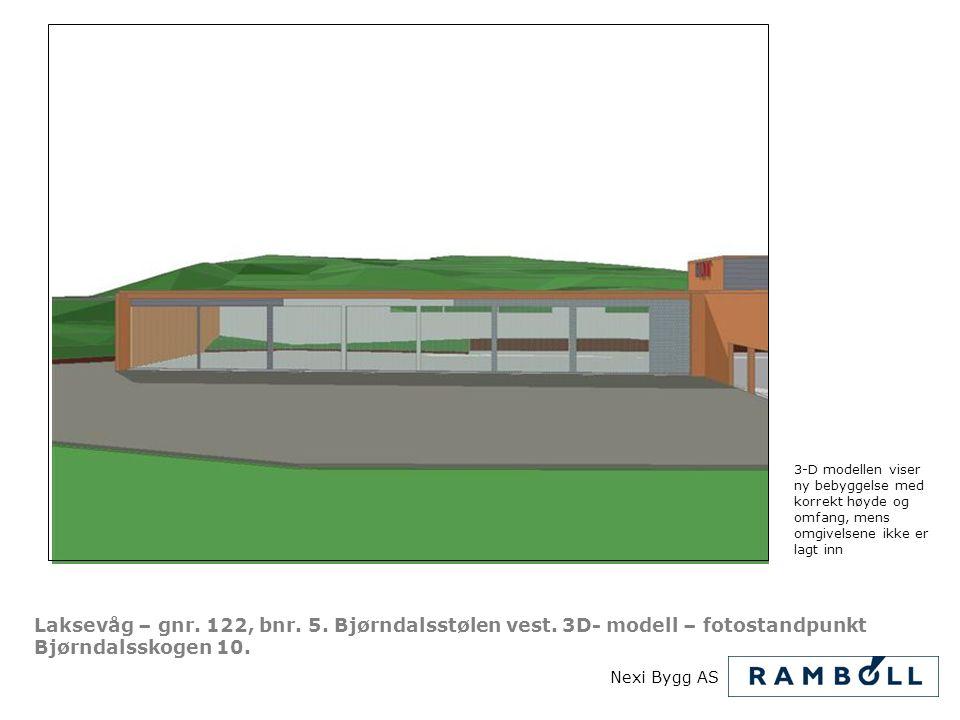 3-D modellen viser ny bebyggelse med korrekt høyde og omfang, mens omgivelsene ikke er lagt inn