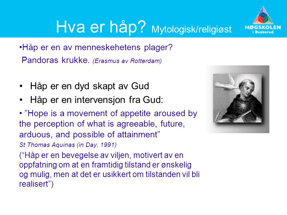 Hva er håp Mytologisk/religiøst