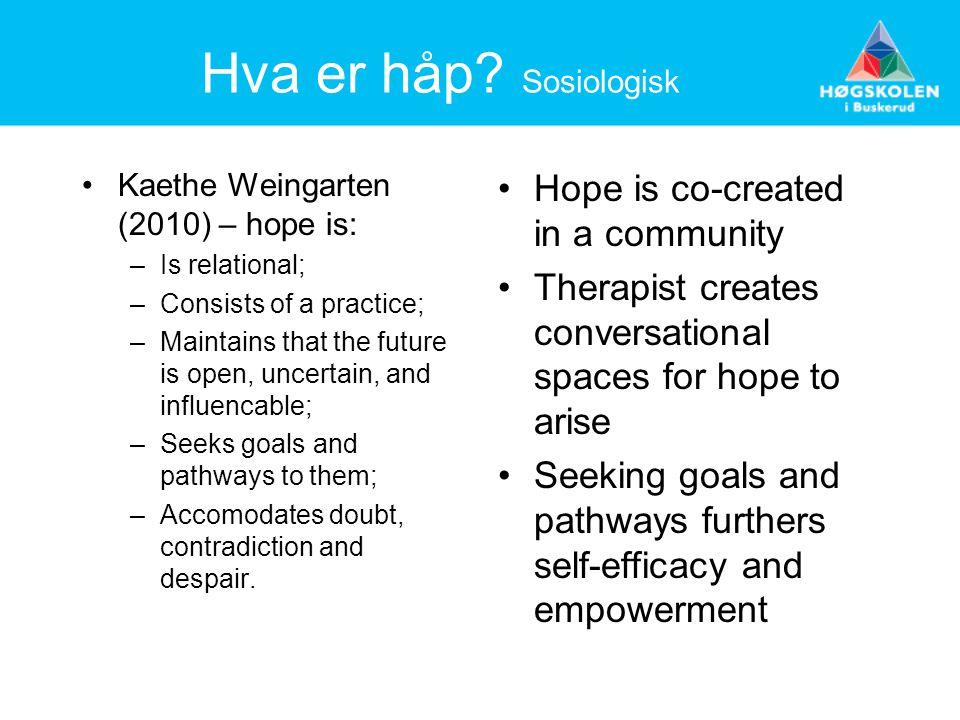 Hva er håp Sosiologisk Hope is co-created in a community