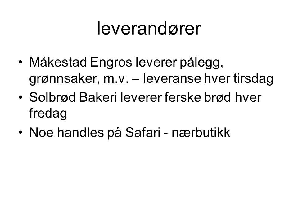 leverandører Måkestad Engros leverer pålegg, grønnsaker, m.v. – leveranse hver tirsdag. Solbrød Bakeri leverer ferske brød hver fredag.