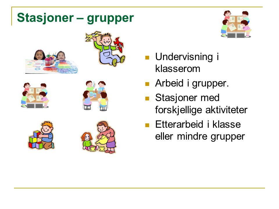 Stasjoner – grupper Undervisning i klasserom Arbeid i grupper.