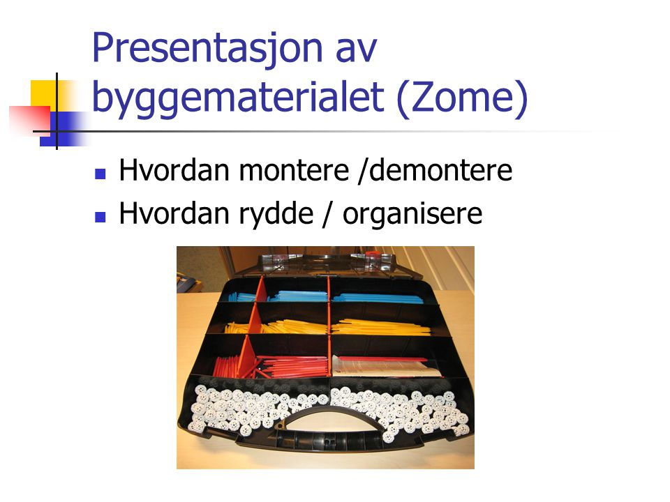 Presentasjon av byggematerialet (Zome)