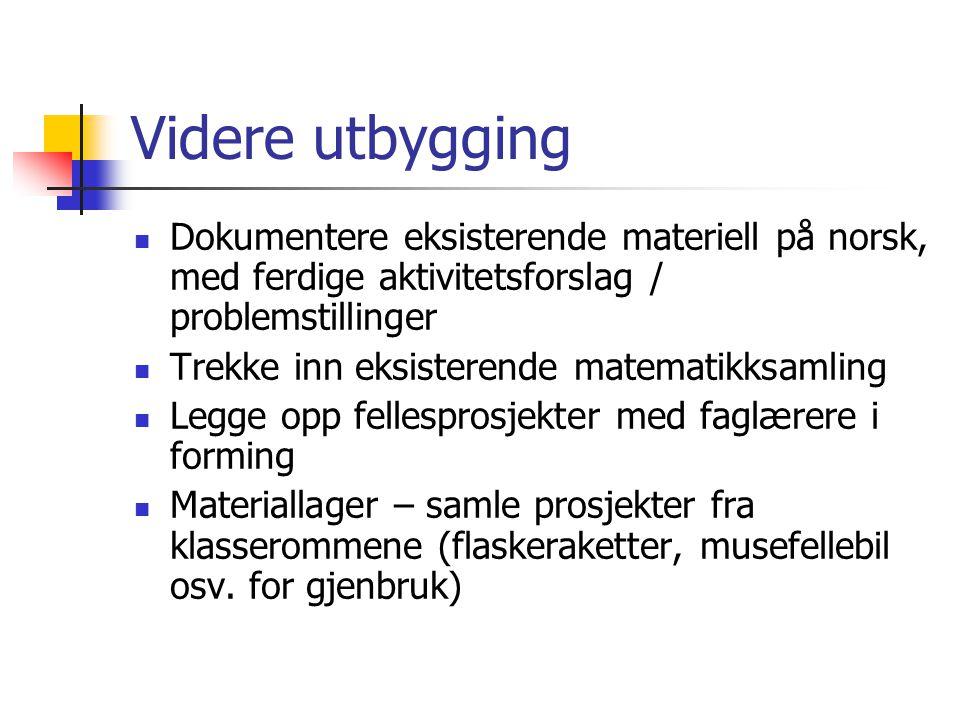 Videre utbygging Dokumentere eksisterende materiell på norsk, med ferdige aktivitetsforslag / problemstillinger.