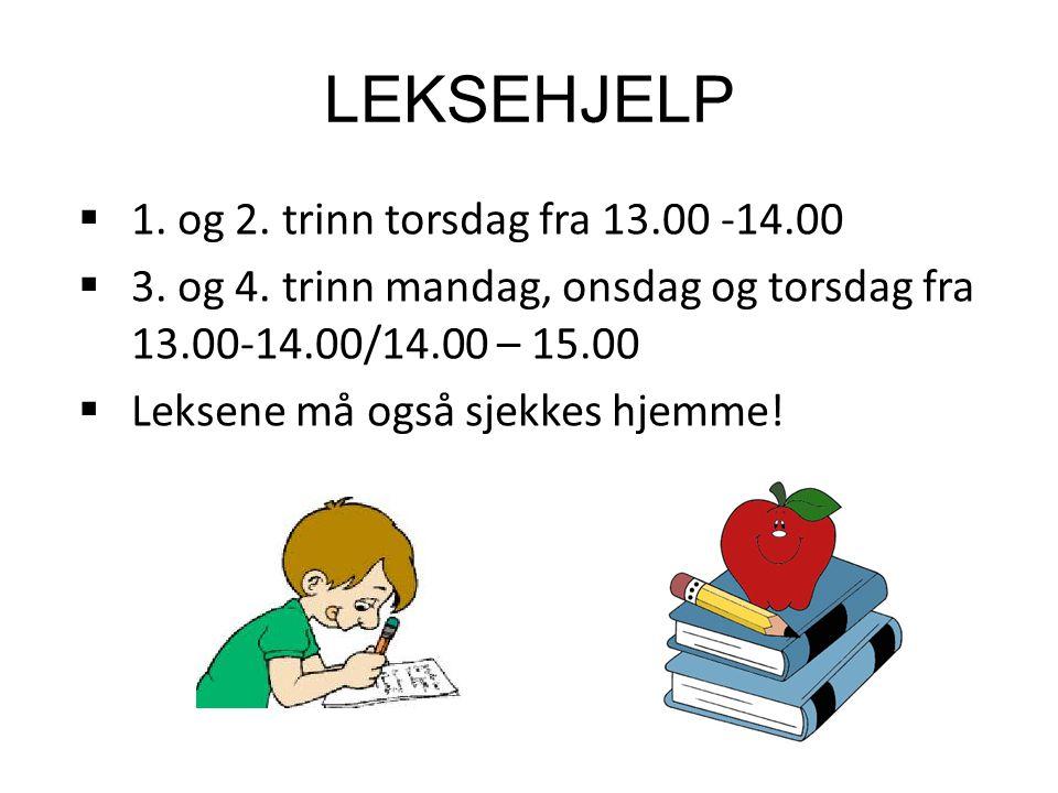 LEKSEHJELP 1. og 2. trinn torsdag fra 13.00 -14.00