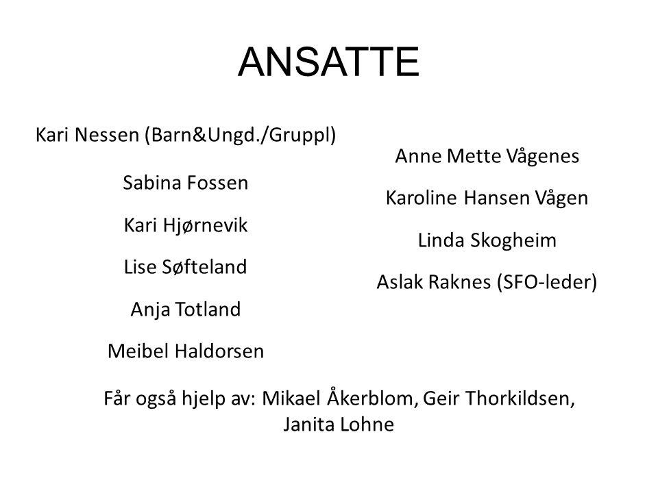 ANSATTE Kari Nessen (Barn&Ungd./Gruppl) Anne Mette Vågenes