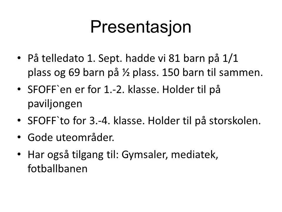 Presentasjon På telledato 1. Sept. hadde vi 81 barn på 1/1 plass og 69 barn på ½ plass. 150 barn til sammen.
