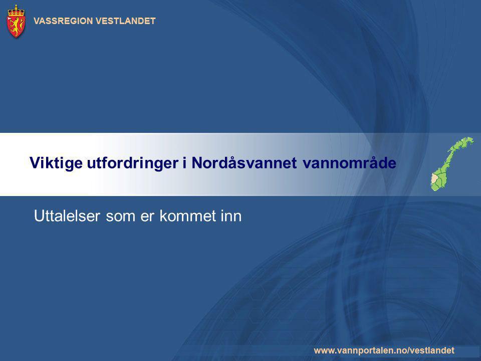 Viktige utfordringer i Nordåsvannet vannområde