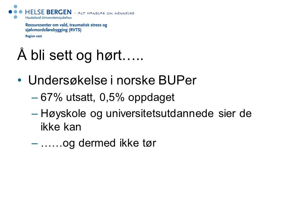 Å bli sett og hørt….. Undersøkelse i norske BUPer