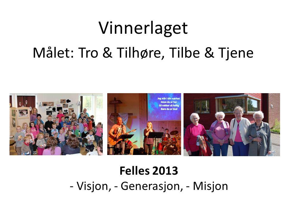 Felles 2013 - Visjon, - Generasjon, - Misjon