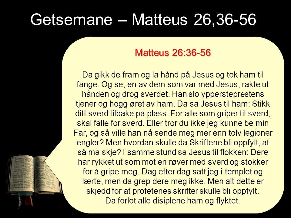 Getsemane – Matteus 26,36-56 Matteus 26:36-56
