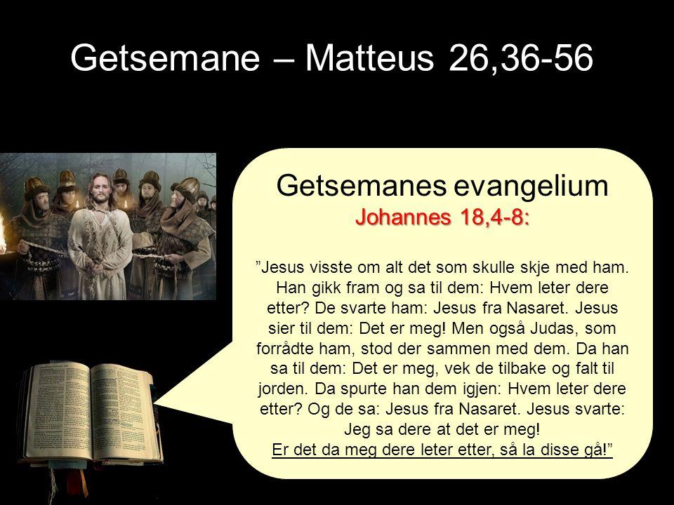 Getsemane – Matteus 26,36-56 Getsemanes evangelium Johannes 18,4-8: