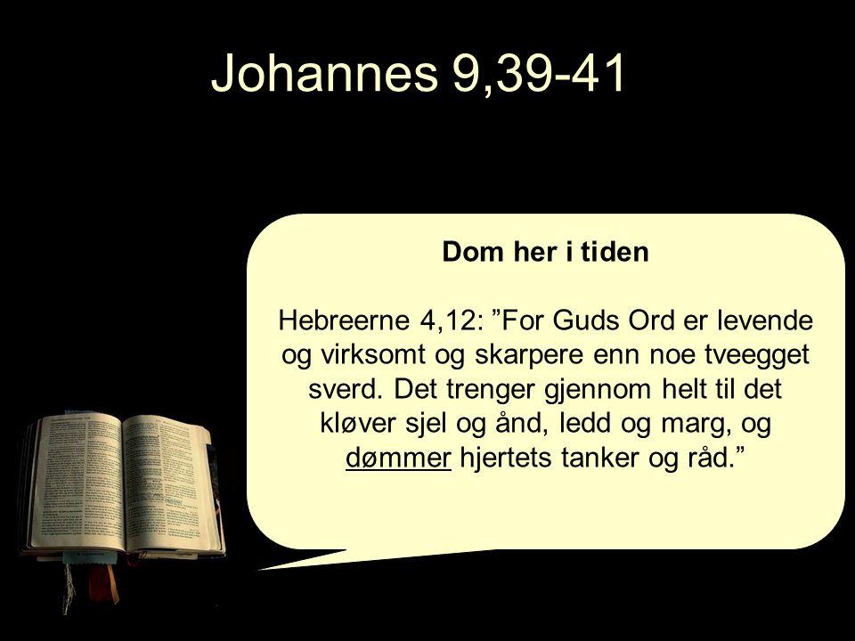 Johannes 9,39-41 Dom her i tiden