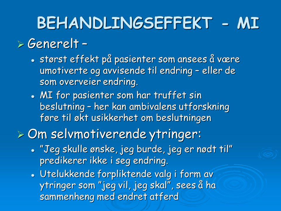 BEHANDLINGSEFFEKT - MI