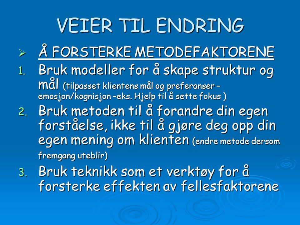 VEIER TIL ENDRING Å FORSTERKE METODEFAKTORENE