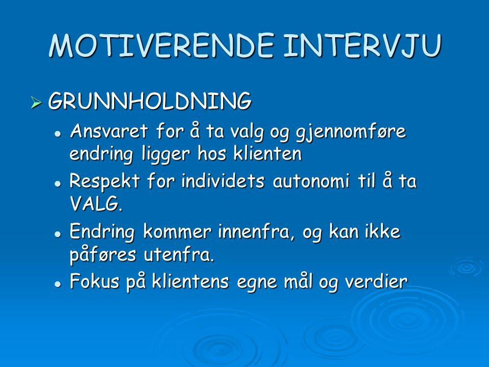 MOTIVERENDE INTERVJU GRUNNHOLDNING
