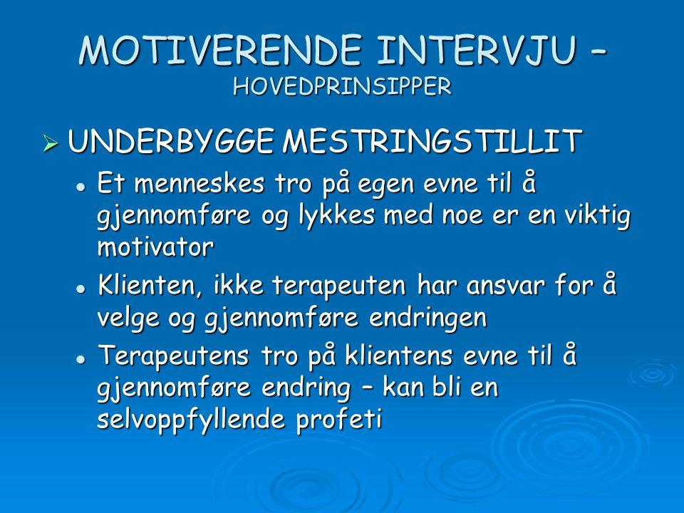 MOTIVERENDE INTERVJU – HOVEDPRINSIPPER