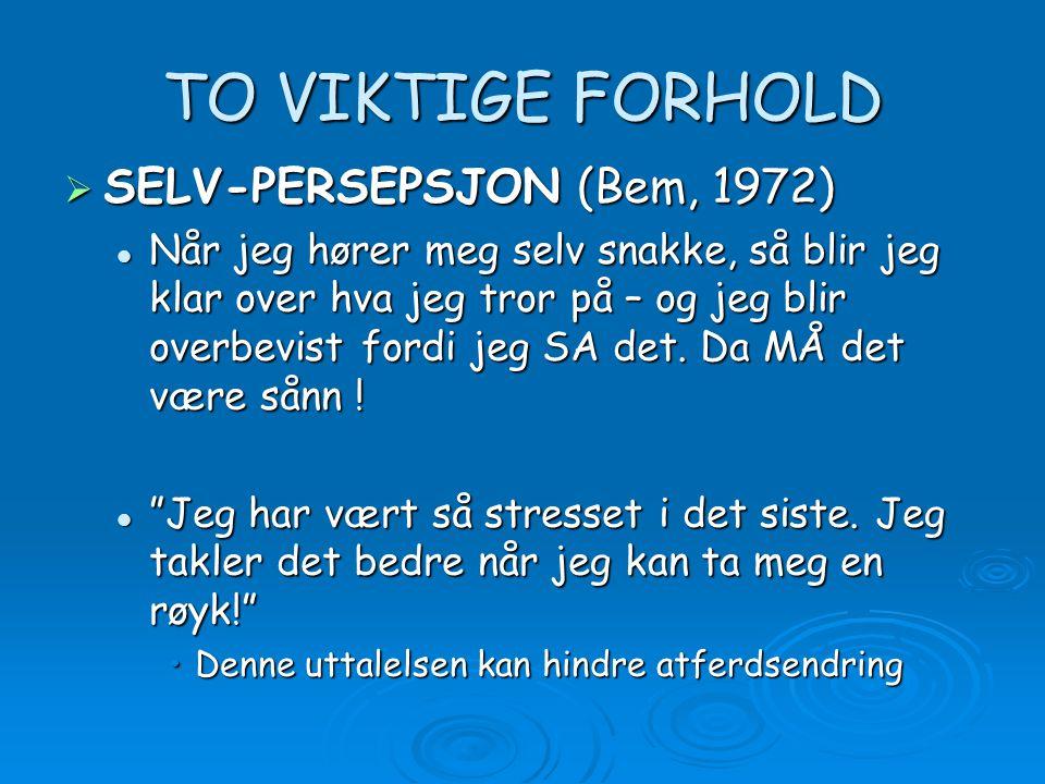 TO VIKTIGE FORHOLD SELV-PERSEPSJON (Bem, 1972)