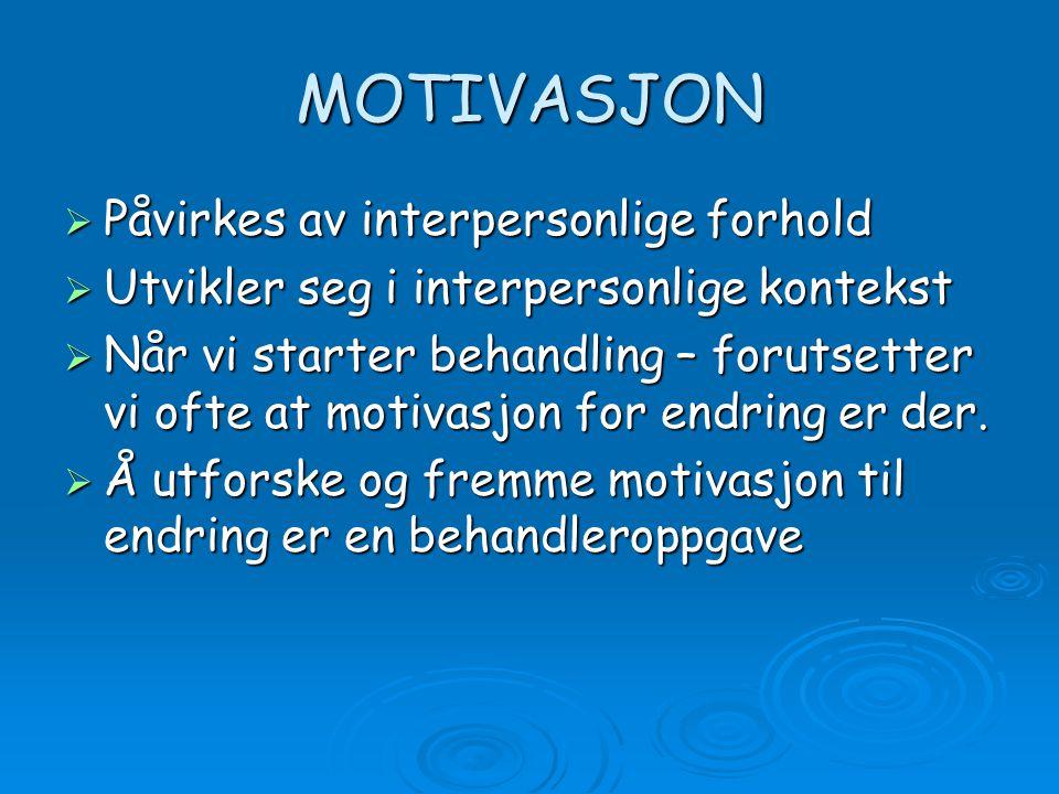 MOTIVASJON Påvirkes av interpersonlige forhold