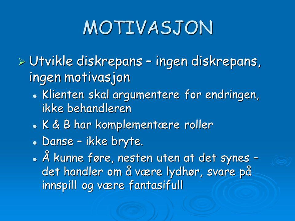 MOTIVASJON Utvikle diskrepans – ingen diskrepans, ingen motivasjon