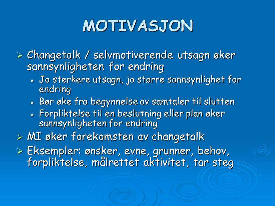 MOTIVASJON Changetalk / selvmotiverende utsagn øker sannsynligheten for endring. Jo sterkere utsagn, jo større sannsynlighet for endring.