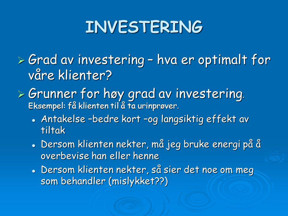 INVESTERING Grad av investering – hva er optimalt for våre klienter