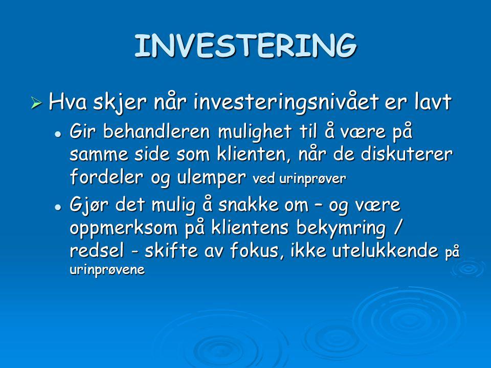INVESTERING Hva skjer når investeringsnivået er lavt