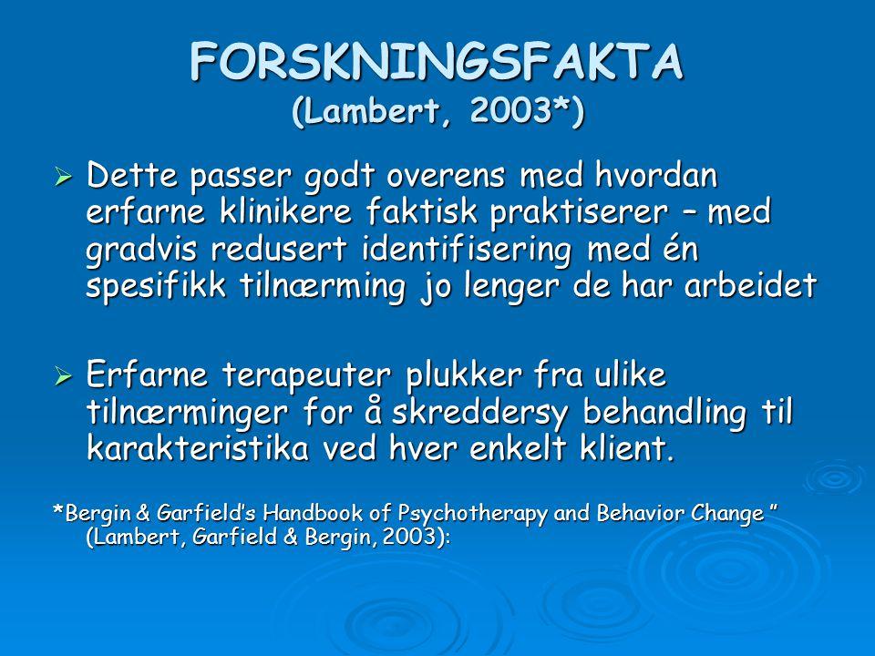 FORSKNINGSFAKTA (Lambert, 2003*)