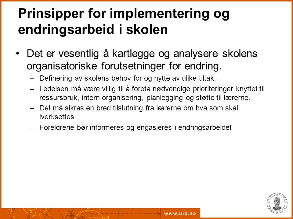 Prinsipper for implementering og endringsarbeid i skolen