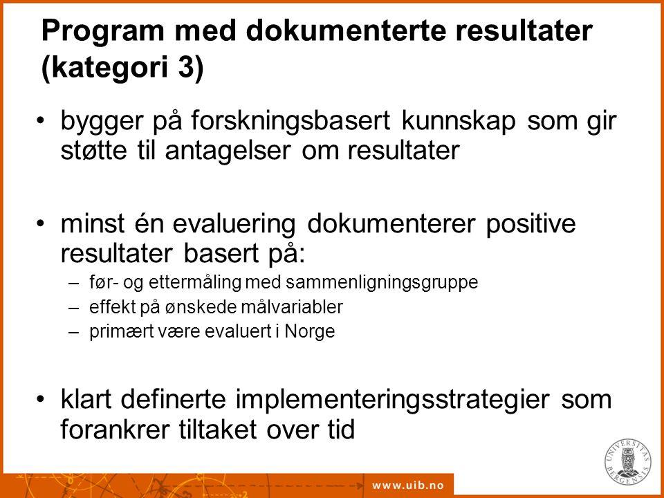 Program med dokumenterte resultater (kategori 3)