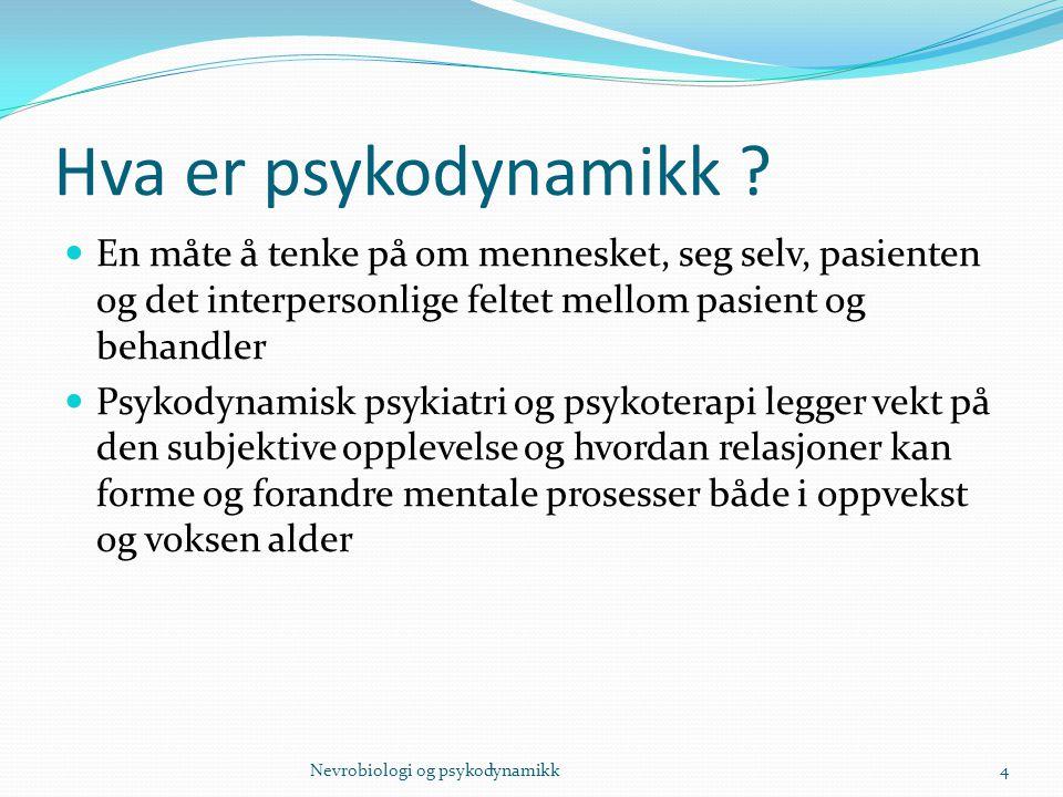 Hva er psykodynamikk En måte å tenke på om mennesket, seg selv, pasienten og det interpersonlige feltet mellom pasient og behandler.