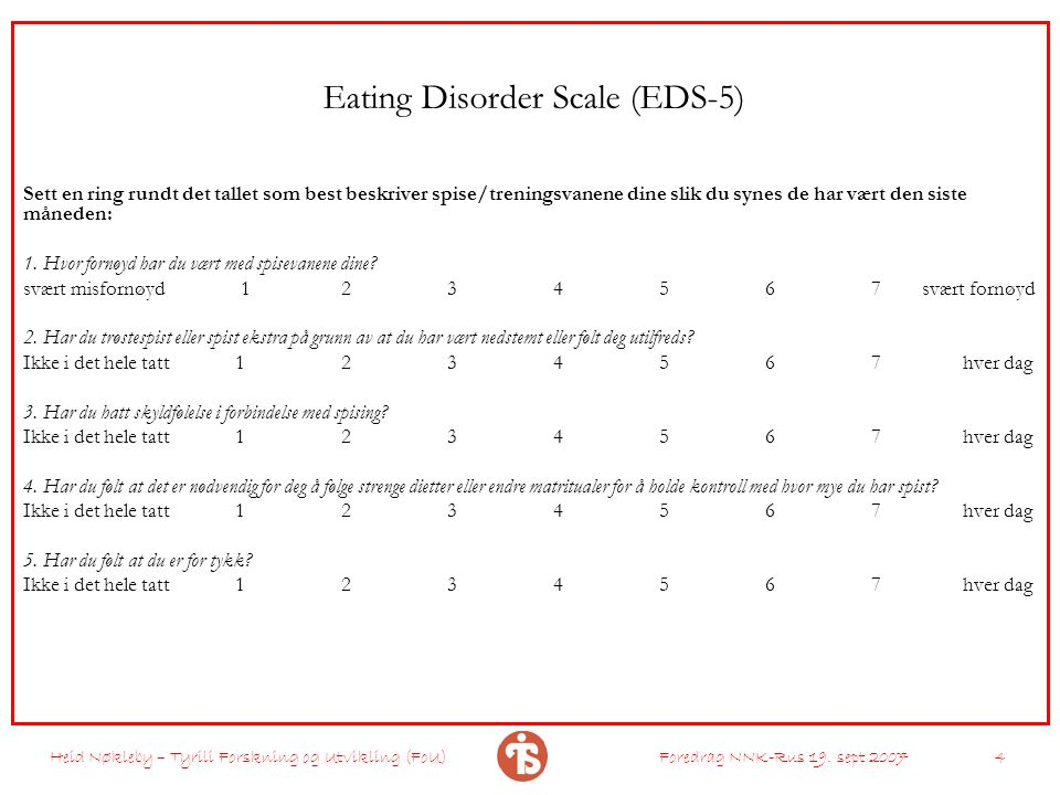 Eating Disorder Scale (EDS-5)