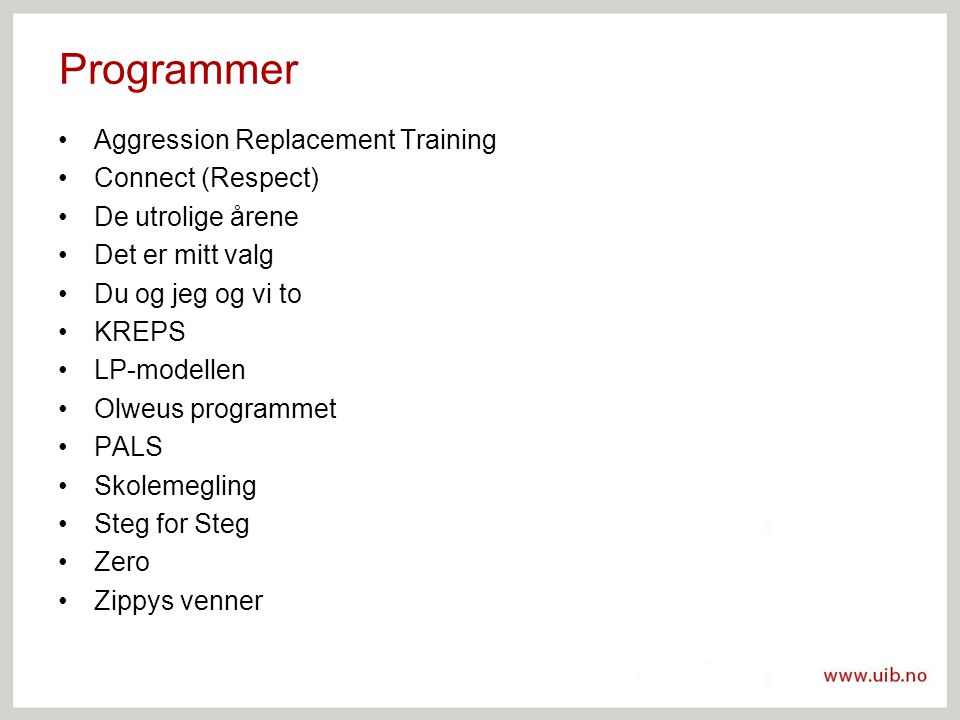 Programmer Aggression Replacement Training Connect (Respect)
