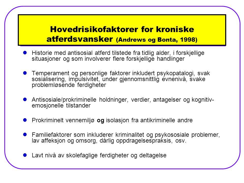 Hovedrisikofaktorer for kroniske atferdsvansker (Andrews og Bonta, 1998)