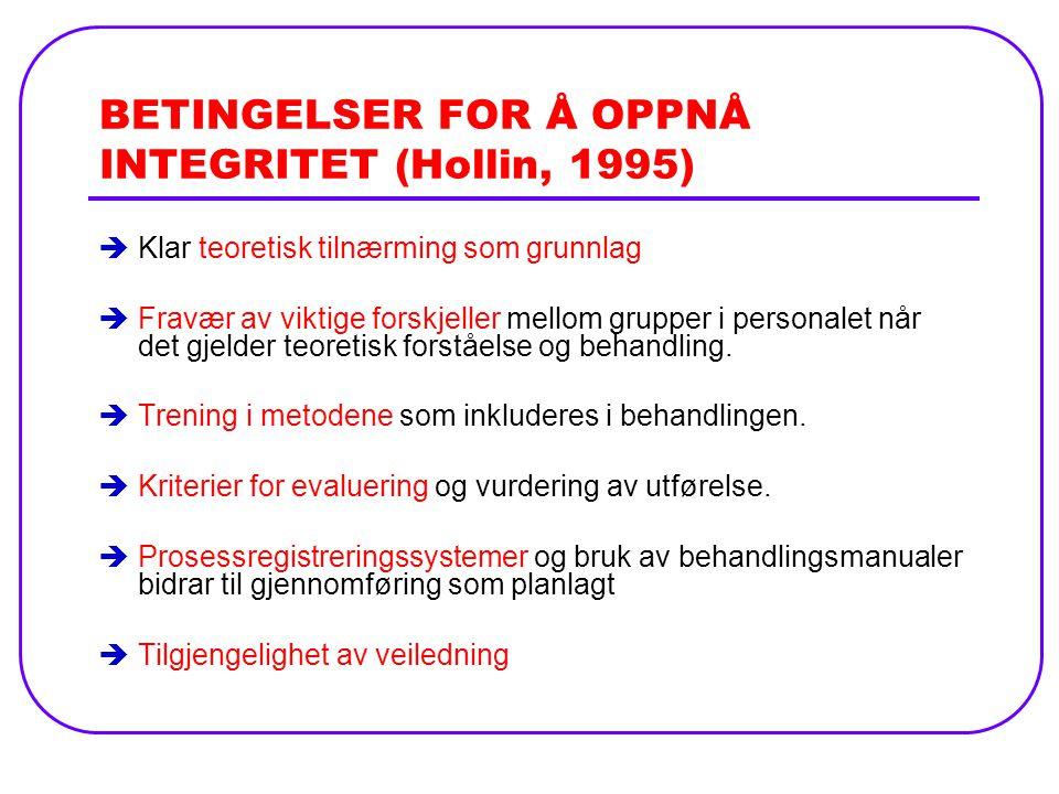 BETINGELSER FOR Å OPPNÅ INTEGRITET (Hollin, 1995)