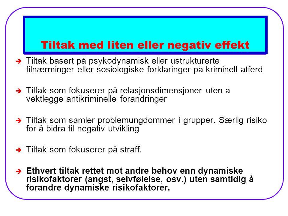 Tiltak med liten eller negativ effekt
