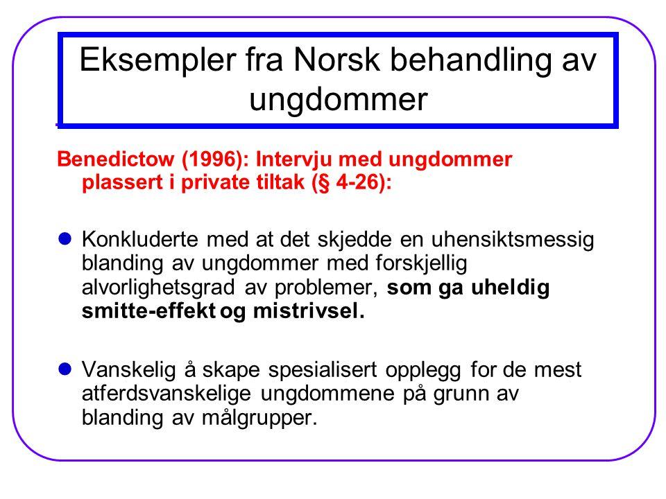 Eksempler fra Norsk behandling av ungdommer