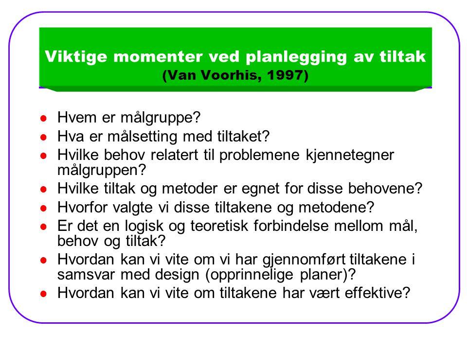 Viktige momenter ved planlegging av tiltak (Van Voorhis, 1997)