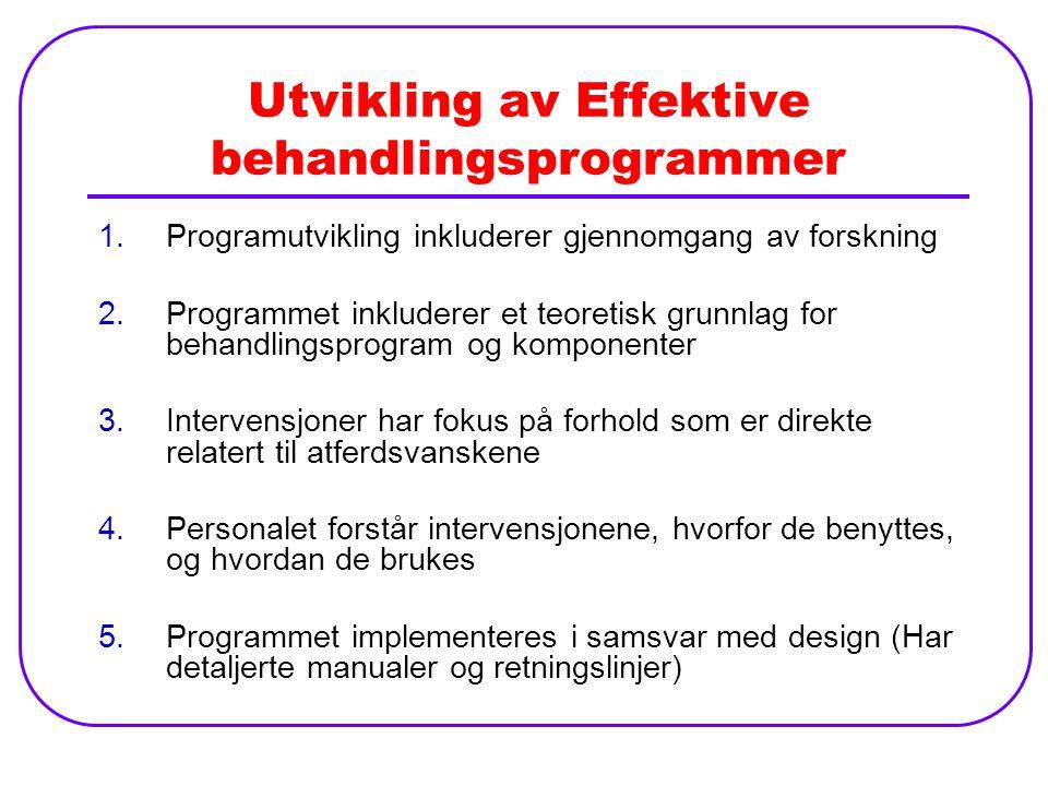 Utvikling av Effektive behandlingsprogrammer