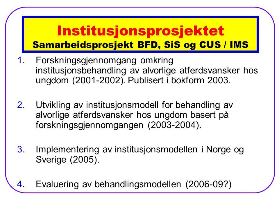 Institusjonsprosjektet Samarbeidsprosjekt BFD, SiS og CUS / IMS