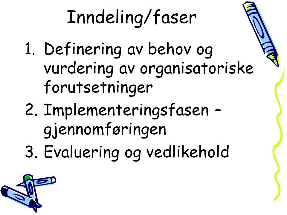 Inndeling/faser Definering av behov og vurdering av organisatoriske forutsetninger. Implementeringsfasen – gjennomføringen.