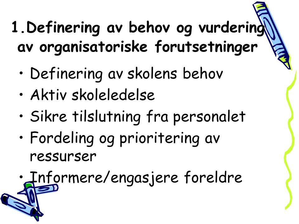 1.Definering av behov og vurdering av organisatoriske forutsetninger