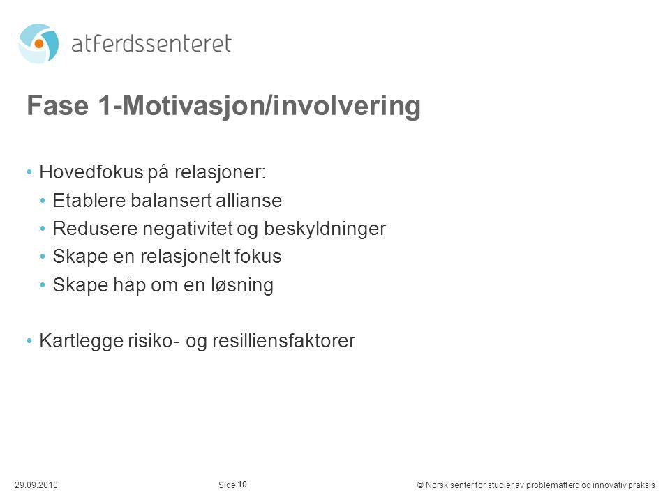 Fase 1-Motivasjon/involvering