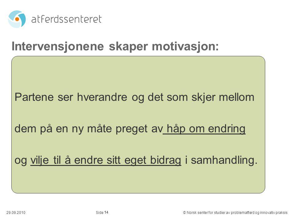 Intervensjonene skaper motivasjon: