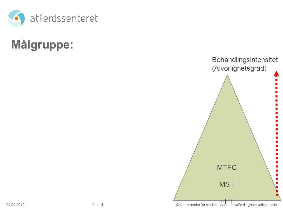 Målgruppe: Behandlingsintensitet (Alvorlighetsgrad) MTFC MST FFT