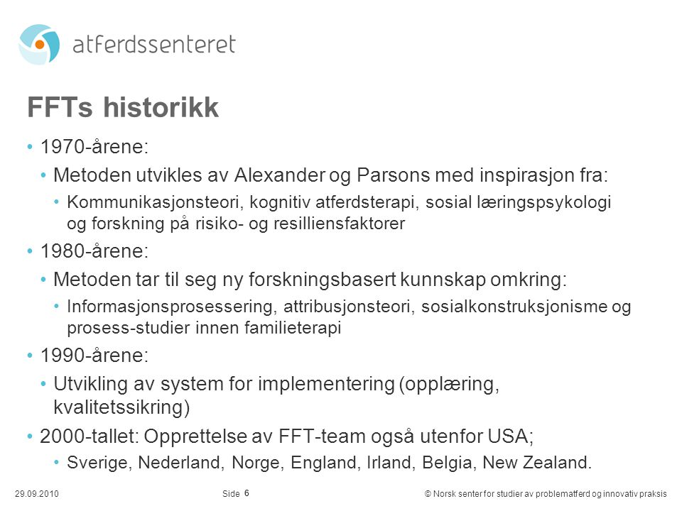 FFTs historikk 1970-årene:
