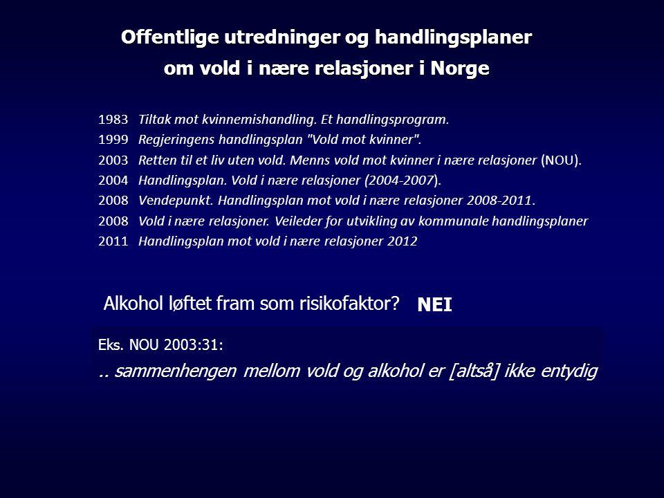 Offentlige utredninger og handlingsplaner om vold i nære relasjoner i Norge