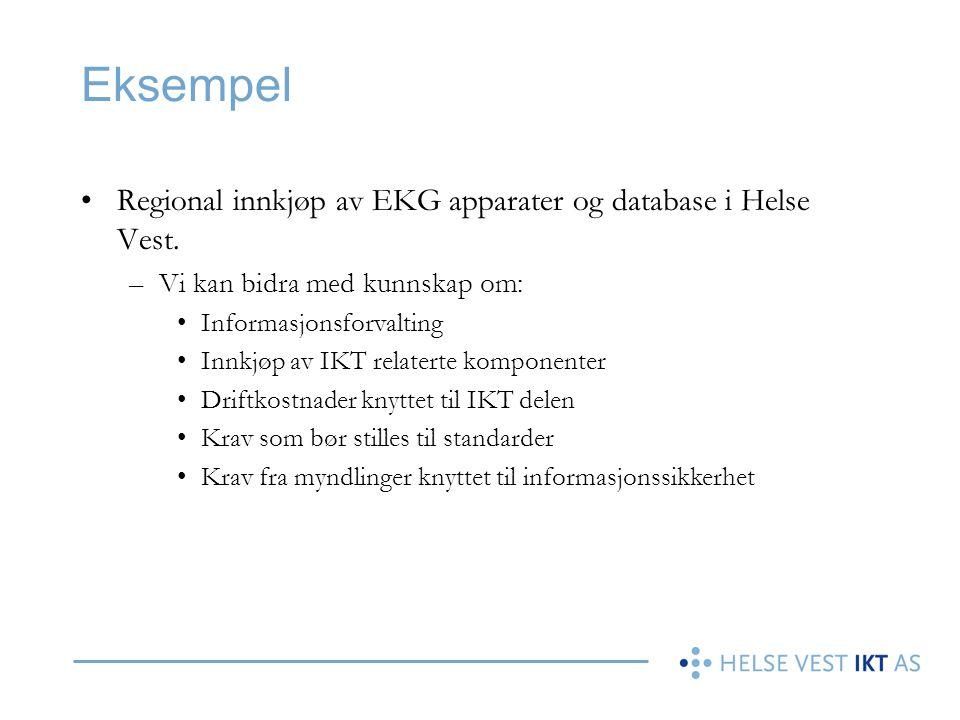 Eksempel Regional innkjøp av EKG apparater og database i Helse Vest.